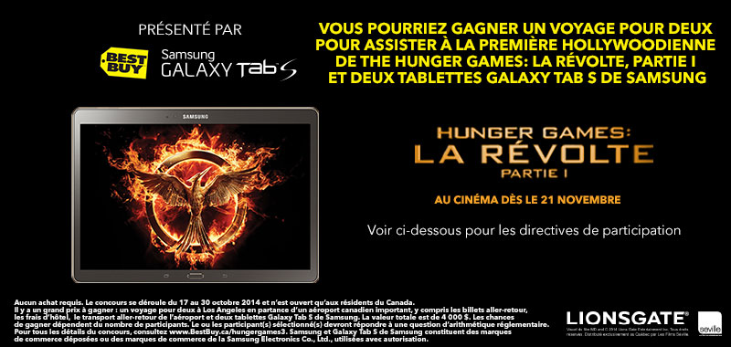 gagner un voyage pour deux pour assister la premi re de hunger games la r volte partie 1. Black Bedroom Furniture Sets. Home Design Ideas
