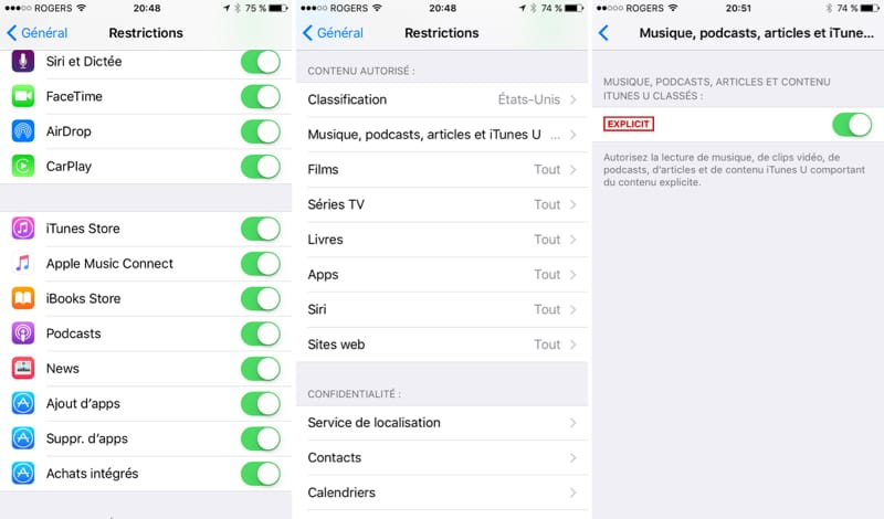 Restrictions sous iOS
