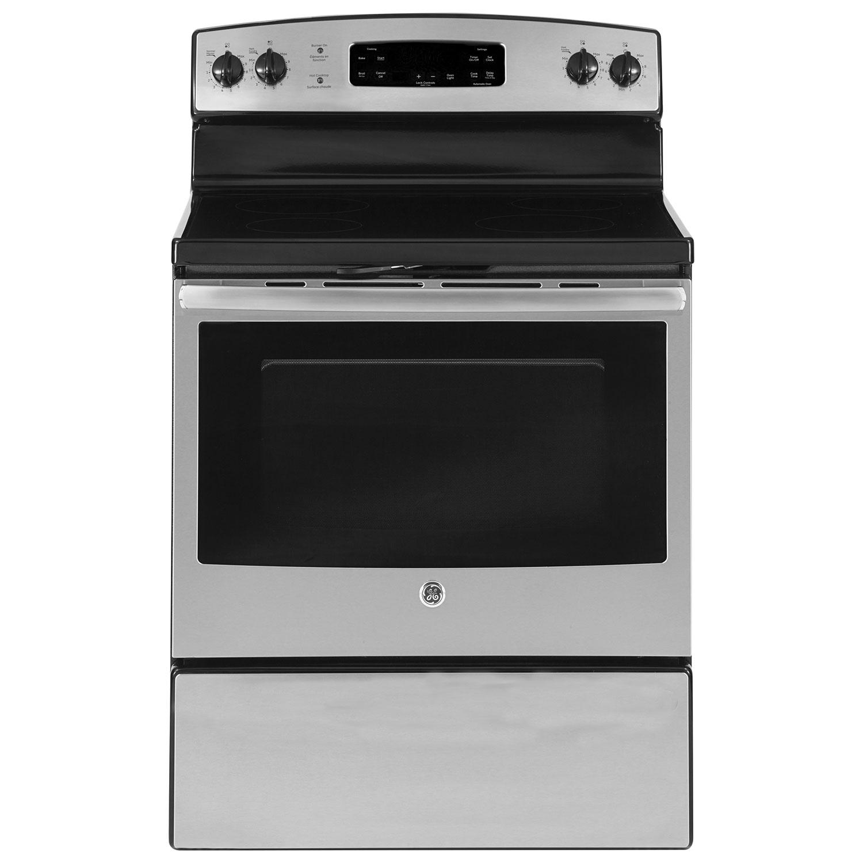 Cuisinière 30 po à surface lisse à nettoyage facile de 5,0 pi3 de GE (JCBS660SJSS) -Acier inoxydable
