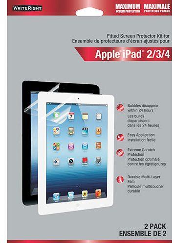 paquet de deux protecteurs d'écran avant WriteRight de Fellowes pour iPad.