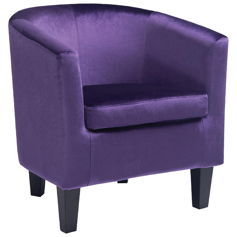 Fauteuil décoratif contemporain en velours Antonio - Violet -