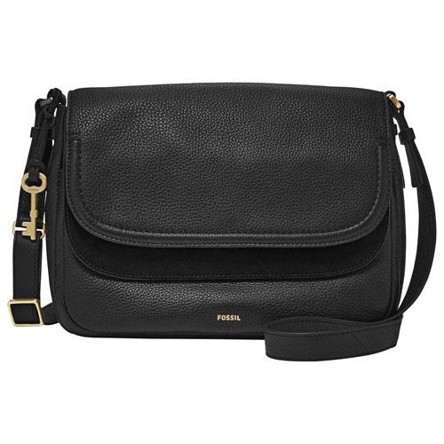 sac à bandoulière en cuir noir Peyton de Fossil