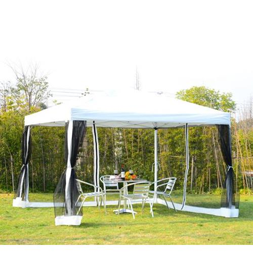 Outsunny 10x10ft Pop Up Wedding Party Tent Gazebo Canopy with Removable Mesh Curtains and Carry Bag, White