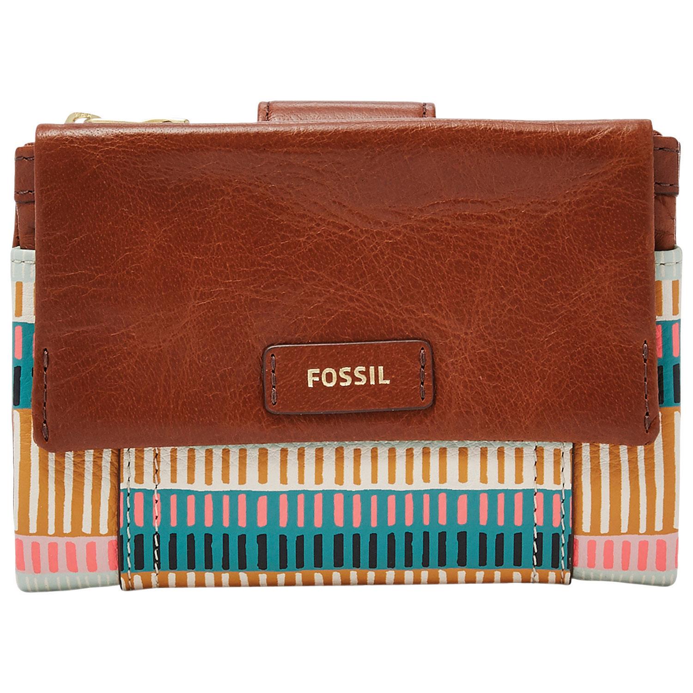 Portefeuille multifonctionnel en cuir Ellis de Fossil - Rayures colorées