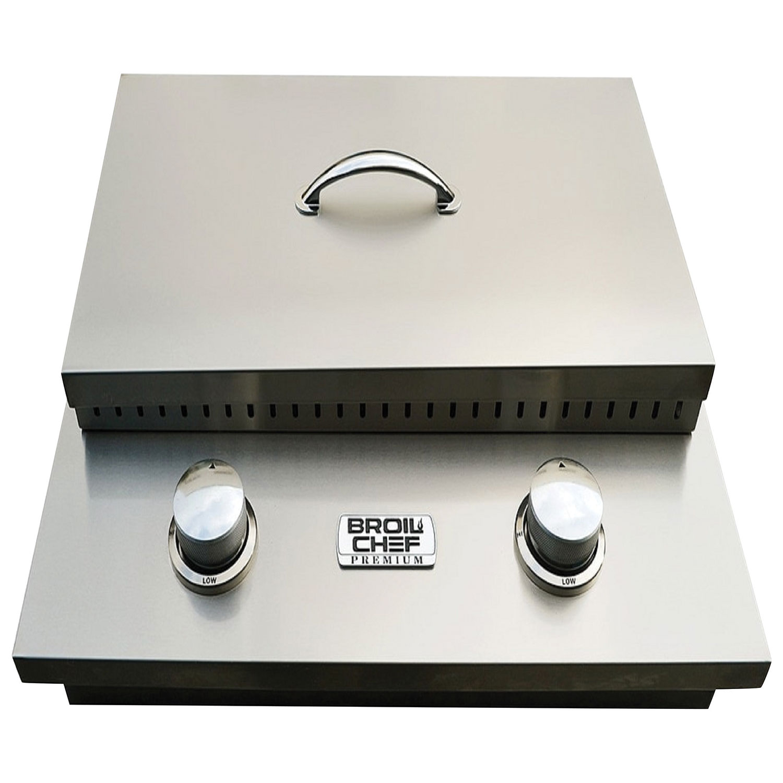 Double brûleur latéral intégré de 30 000 BTU Premium avec couvercle de Broil Chef