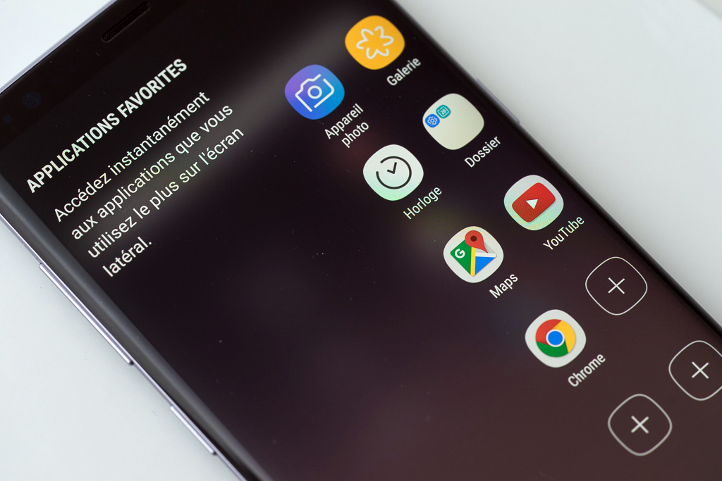 Samsung Galaxy S8 menu latéral