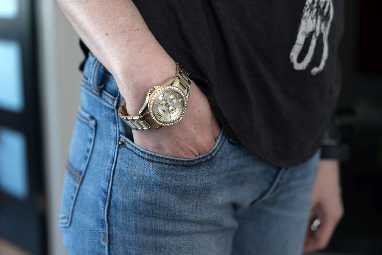 Montre-bijou analogique de 38 mm pour femmes Riley de Fossil avec cristaux - Doré-champagne