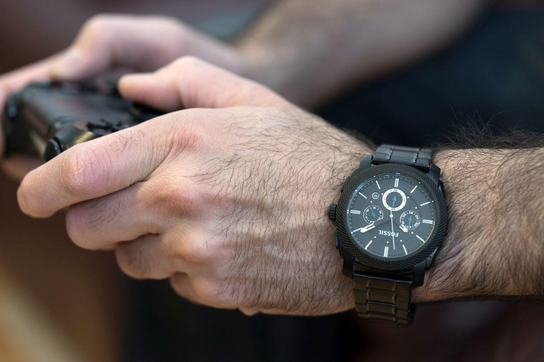 Montre-bijou analogique de 45 mm pour hommes Machine de Fossil - Noir
