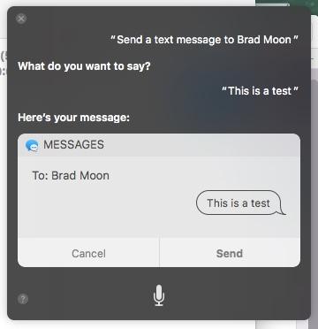 envoi d'un message texte avec Siri