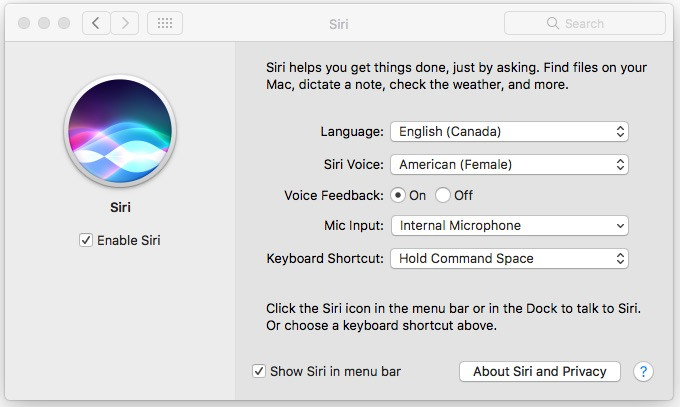 Configuration Siri Paramètres