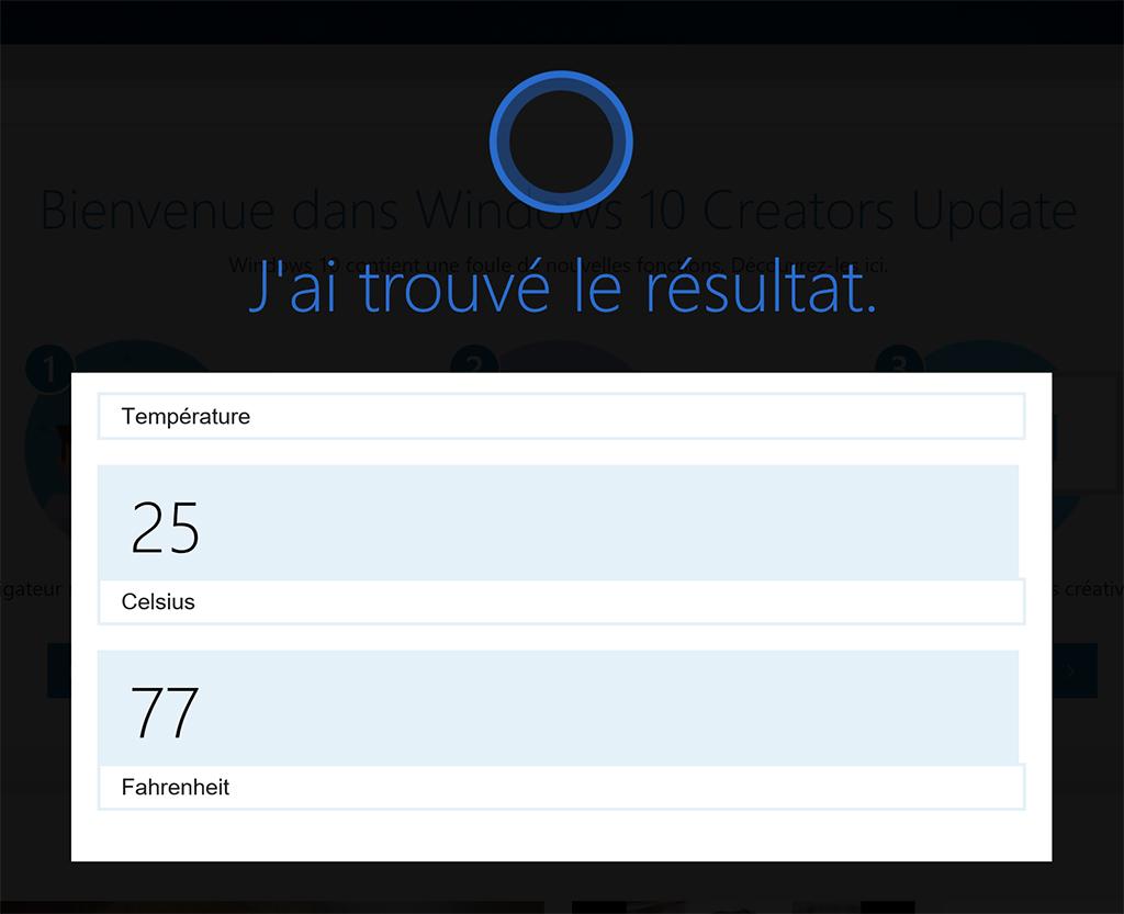 Windows 10 mise à jour des créateurs Cortana