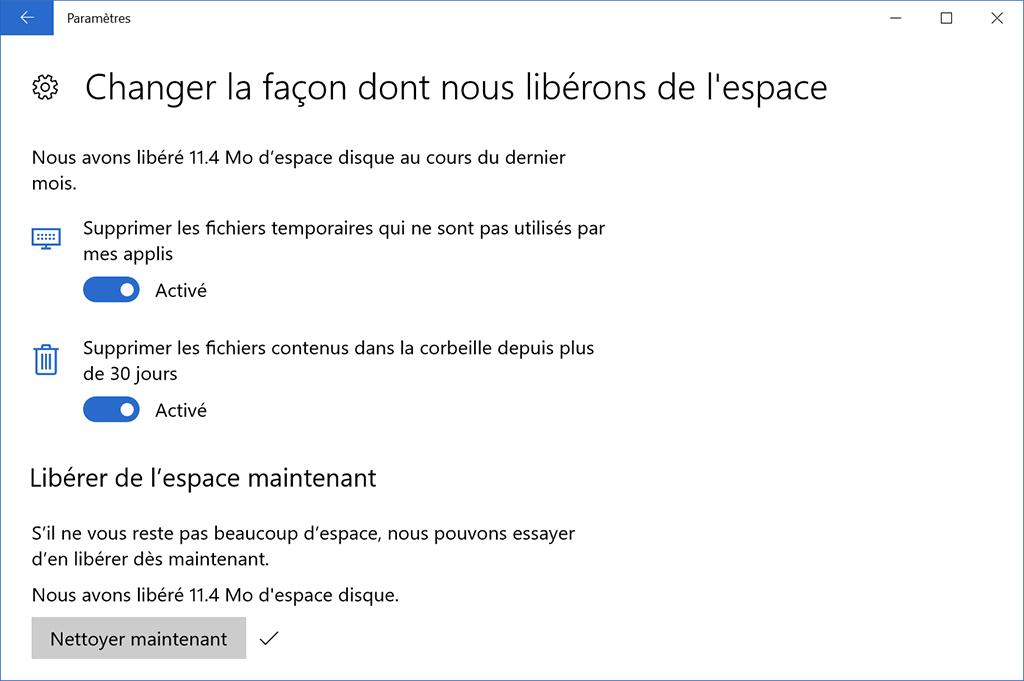 Windows 10 mise à jour des créateurs Détection de stockage