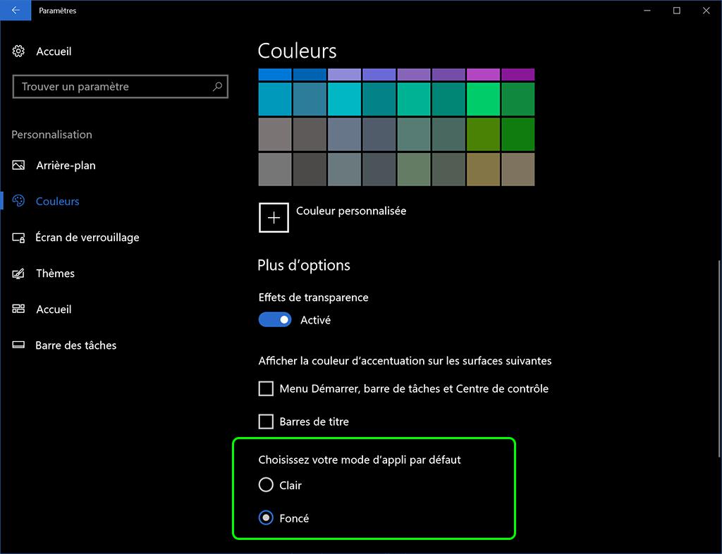 Windows 10 mise à jour des créateurs Mode clair ou foncé