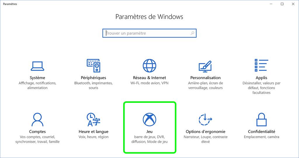 Windows 10 mise à jour des créateurs Jeux