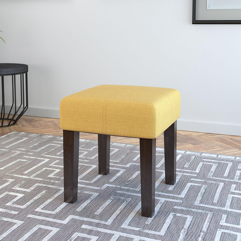 banc carré en lin Antonio en teinte expresso-jaune