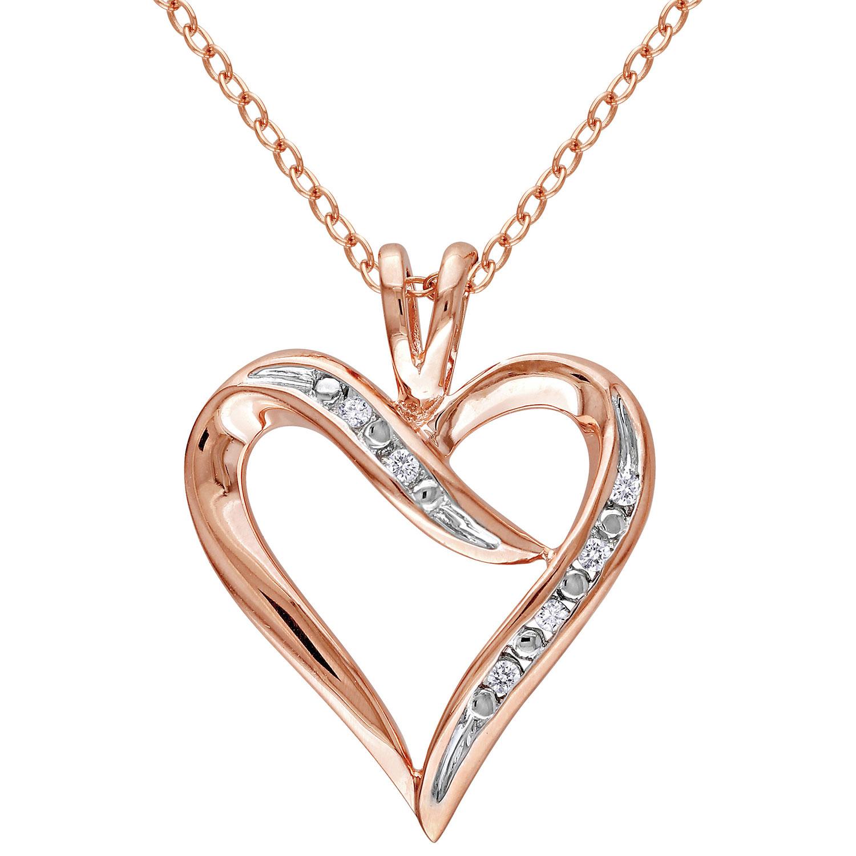 Chaîne classique argent plaqué rose et pendentif coeur avec diamants ronds blancs