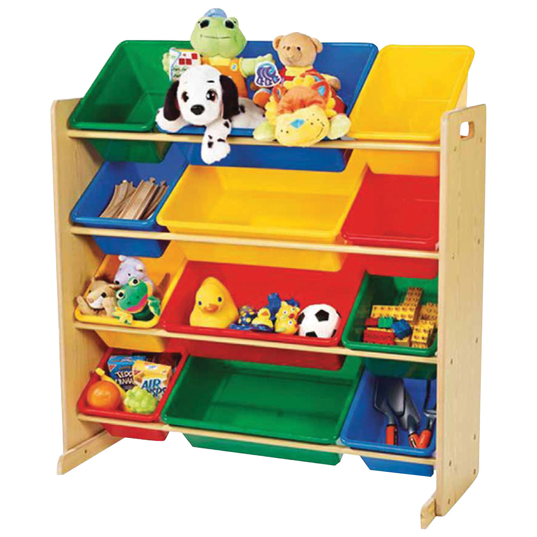 Meuble de rangement de jouets à 12 contenants Primary de Tot Tutors - Couleurs primaires