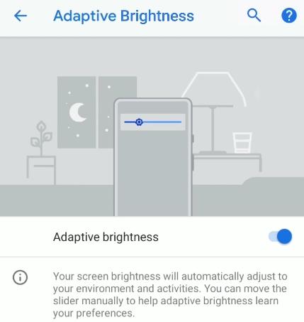 Android 9.0 Pie - Luminosité