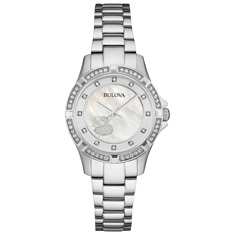 Montre-bijou analogique 30 mm pour femmes de Bulova à cristaux et diamants Swarovski - Argenté-Nacre