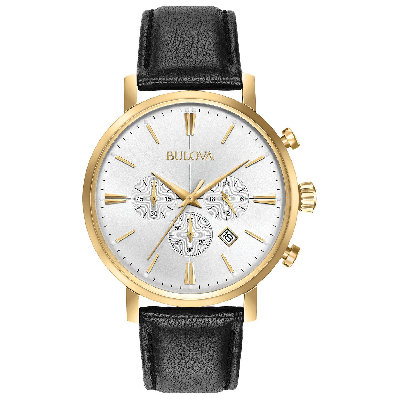 montre-bijou analogique à chronographe 41 mm pour hommes de Bulova avec bracelet en cuir