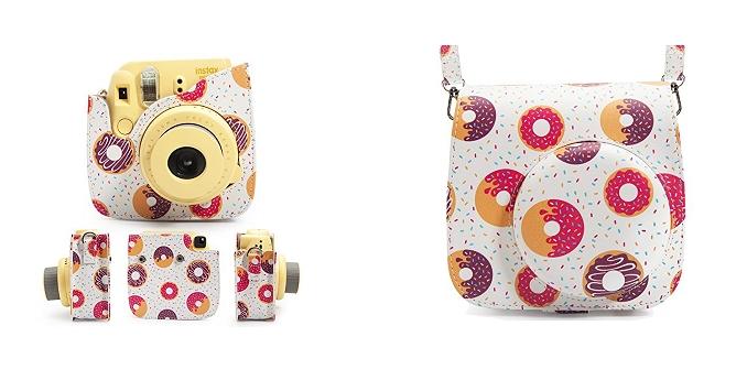 'étui d'appareil photo Woodmin Groovy en cuir avec bandoulière pour Fujifilm Instax Mini 8 Mini 9 avec motifs de beignes