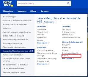 Le menu « Magasinez » de la page d'accueil de bestbuy.ca ouvert avec la catégorie « Jeux vidéo, films et émissions de télé » sélectionnée et « Musique » sur la droite en surbrillance à l'intérieur d'un cadre rouge.