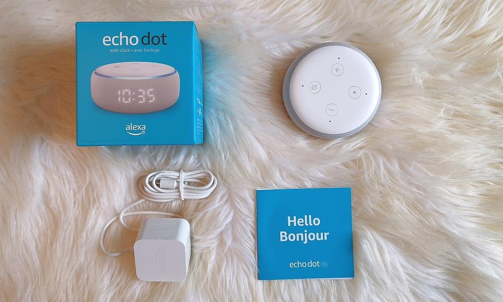 contenu boite Echo Dot Alexa horloge Amazon