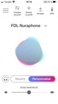 L'appli Nura calcule un profil de rendu sonore personnalisé en fonction des caractéristiques de l'oreille.