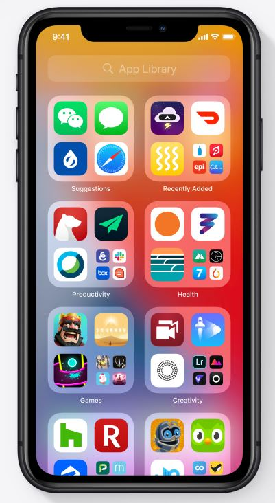 Image of iOS14 Apps Library on iphone