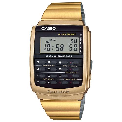 Montre calculatrice numérique décontractée 34,8 mm pour hommes Vintage de Casio - Doré/Noir