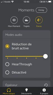 Il est possible de régler le niveau de suppression ou d'amplification du bruit ambiant.