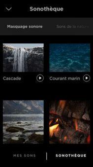 L'appli Bose Sleep permet de choisir entre une quarantaine de sons.