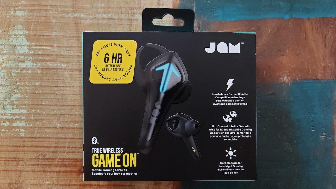 La boîte des écouteurs sans fil TWS GAME ON de JAM Audio