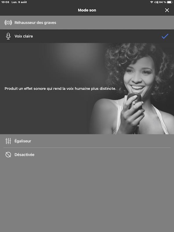 """L'application Audio Connect de Panasonic. Le réglage """"voix claire"""" est habituellement le plus efficace pour ces écouteurs."""